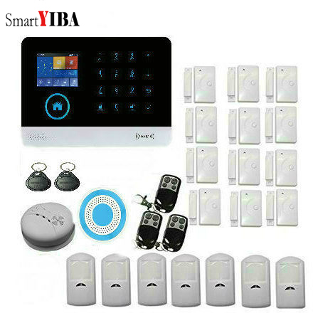 SmartYIBA Intelligence APP Control WIFI Home Security Alarm System With TFT Display Door Sensor Remote Control Alarm Sensor Kit