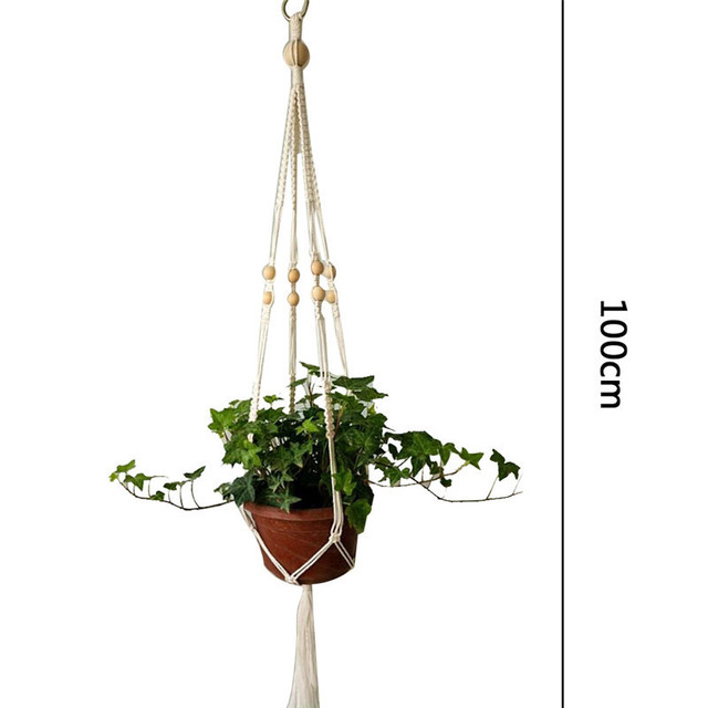 Hand Knitting Natural Plant Hanger Hook Macrame Flower Pots String Hanging Rope Hemp Basket Houseplant Home Garden Balcony Decor