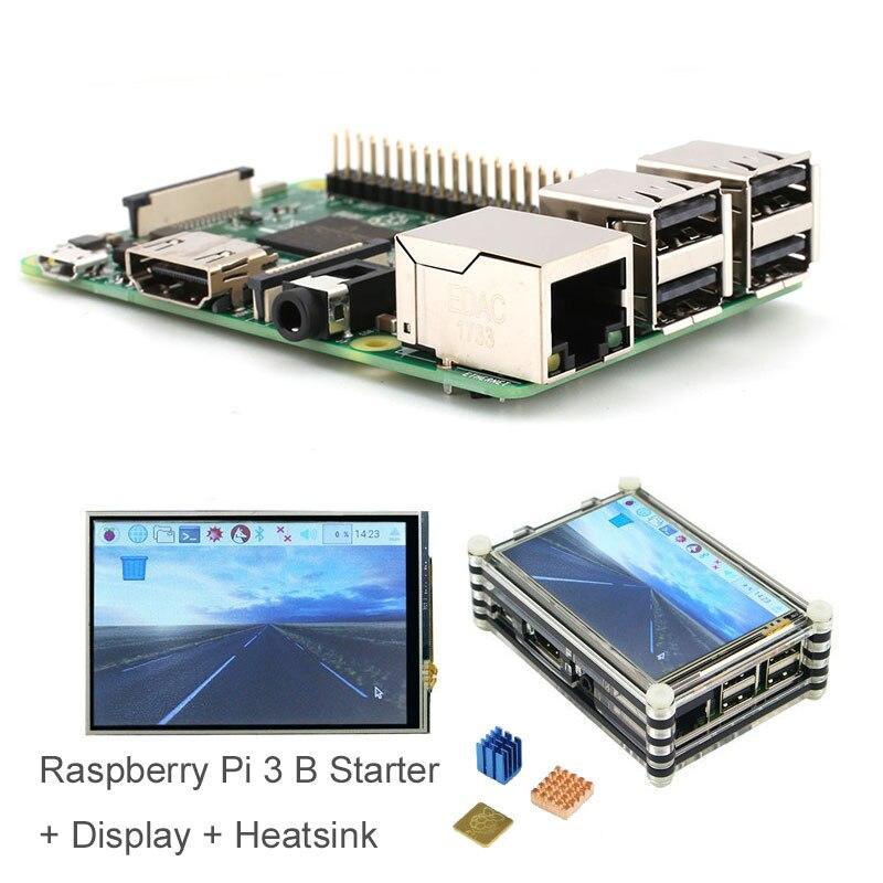 Raspberry Original Raspberry Pi 3 modèle B + écran tactile 3.5 pouces + boîtier + puissance + HDMI + dissipateur thermique * 3 + instructions en anglais + stylet