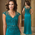 2015 Turquoise Mother of the Bride Dresses Lace Chiffon Plus Size Evening Gowns Women Beads Floor Length Vestido de Madrinha