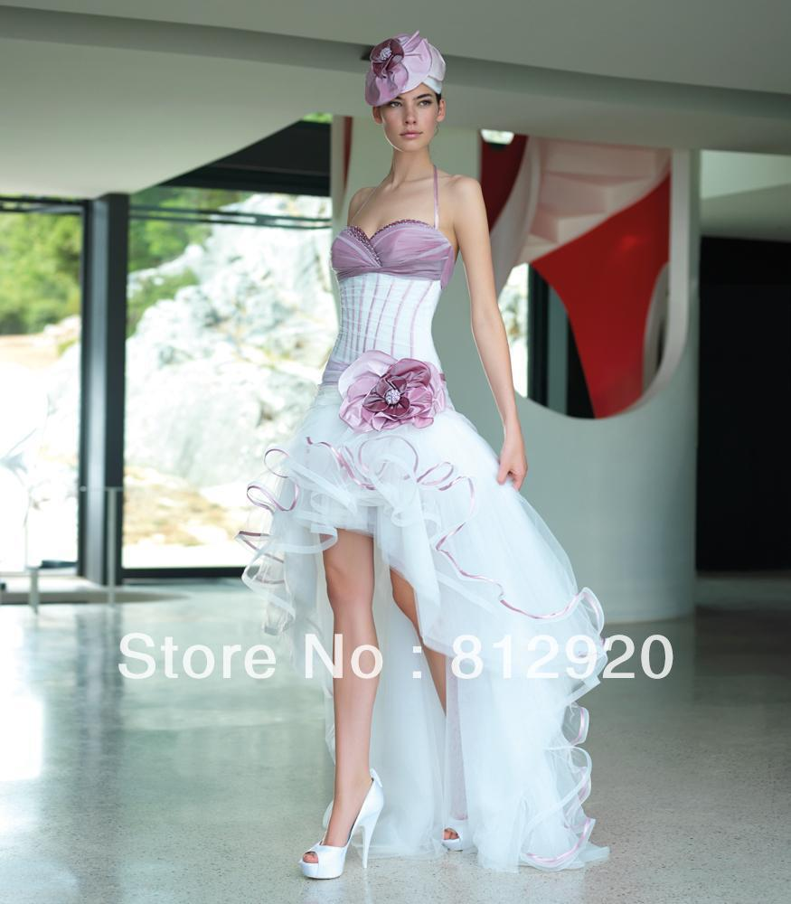 Halter Taffeta And Tulle Short Front Long Back Corset High Low Purple White Bridal Wedding Gowns: Corset Tulle Short Wedding Dresses At Reisefeber.org