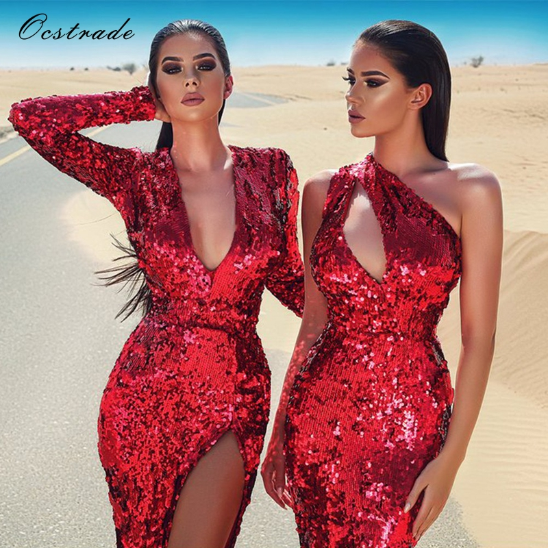 78a1ad6723 Ocstrade Red V Neck Long Sleeve Maxi Sequins Side Slit Fashion Bodycon Dress  H0075 Red-in Dresses from Women s Clothing on Aliexpress.com