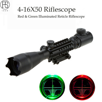 4-16x50 Red Green Illuminated Reticle Riflescope Sniper Scope Tactical Hunting Rifle Airsoft Gun Sight Professional Laser Scope