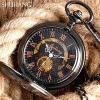 2017 New SHUHANG Skeleton Hand Wind Mechanical Pocket Watches Classic Dress Steampunk Steel Watch Men Women