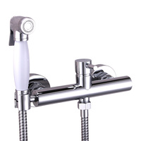 brass bidet spray two holes hot and cold shower faucet sprayer toilet portable seat mixer wc asiento nozzle cleaner