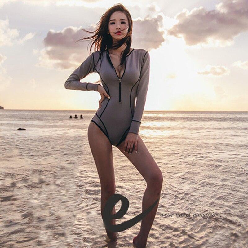 Rhyme Lady Custom Printed Surf Suit Fitness traje de baño de manga larga  para mujer traje de baño ... 8e1d3748c524