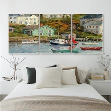 Laeacco 3 Panel Vintage Village Wall Art River Posters and Prints Canvas Paintings Calligraphy Home Living Room Decor