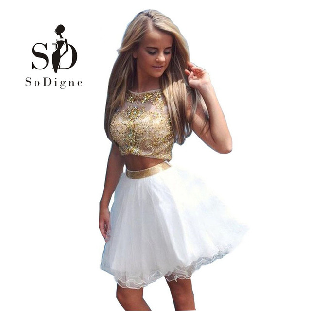 7c66fd5bab8 SoDigne Short Two Piece Prom Dress White and Gold Beaded A-Line Crystal  Party Cocktail Homecoming Dress vestido de formatura