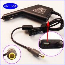 20 V 3.25A Máy Tính Xách Tay Xe DC Adapter Sạc Power Supply + USB cho IBM Lenovo Thinkpad T61 T60p T61p T400 T410 T420 T430 T500