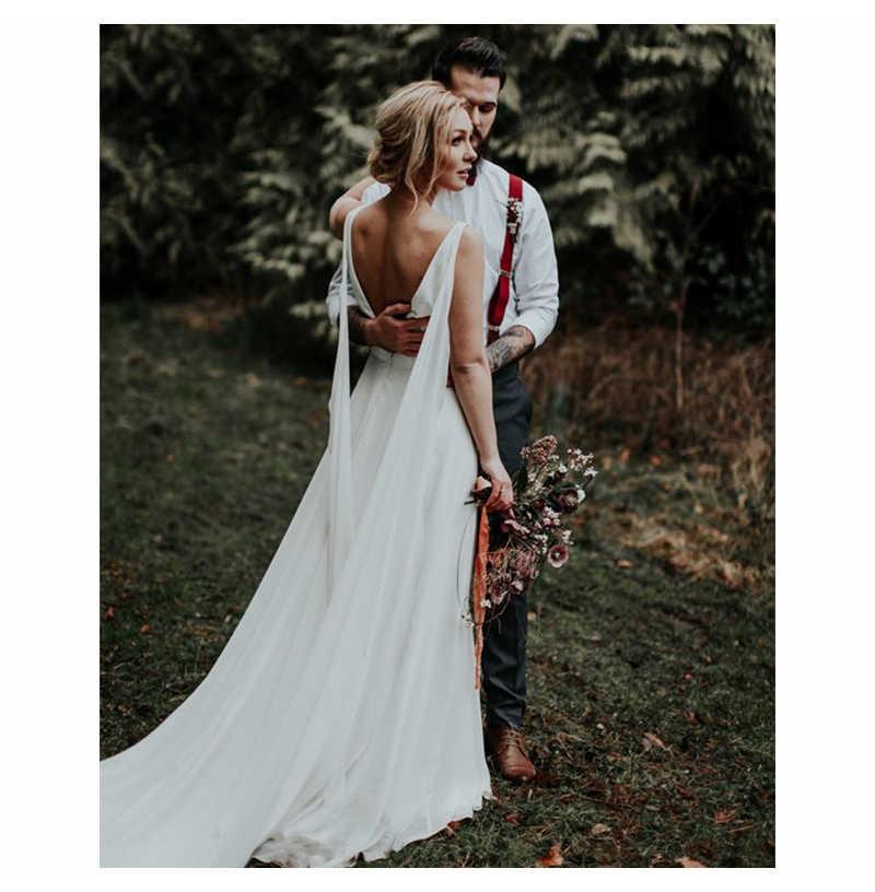 Глубокий v-образный вырез бохо платье невесты сексуальное простое свадебное платье шифон пляжное свадебное платье