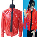MJ In Memory of Michael Jackson Red Thin Shirt PU Leather Dangerous Jam Magic Tape VEL-CRO Shirt  Tie For Dancer Quikly Change