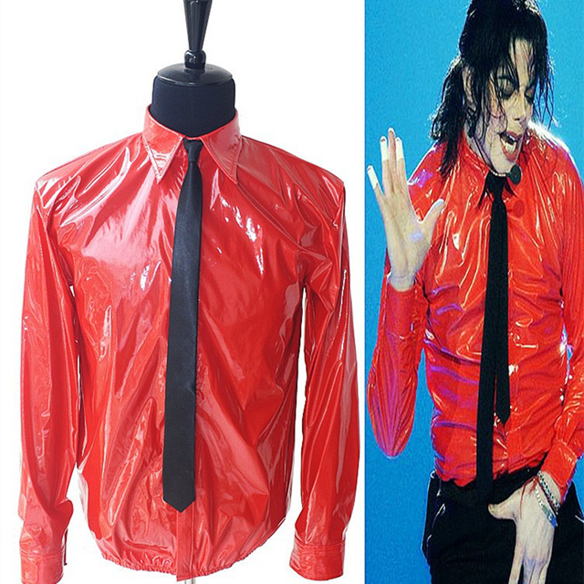 MJ In Memory of Michael Jackson Red Thin Shirt PU Leather Dangerous Jam  Magic Tape VEL 514fe2f89