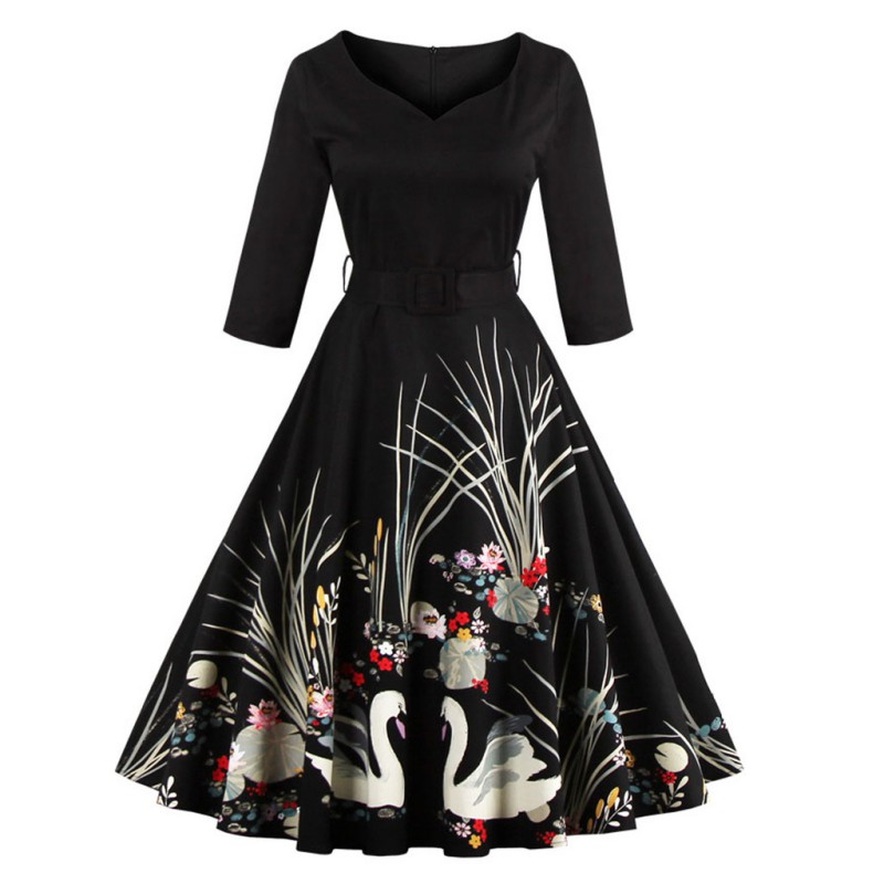New Elegant Black Swan Print 50s Vintage Dress V Neck 3/4 Sleeved High Waist Belts Zipper Swing Party Feminino Vestidos Retro S4