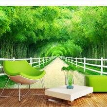 beibehang papel de parede para quarto Custom wallpaper Bamboo forest fence path fresh 3D