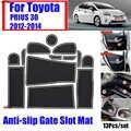 13 unids/set antideslizante para TOYOTA PRIUS 30 2012-2014 cojín de agua y polvo alfombrilla de la ranura de la puerta cubierta de goma decoración Interior del coche