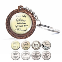Friendship Keychain  First My Sister, Always Friend Sisters Jewelry Best Friends Wooden Gifts for
