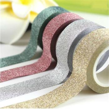 5M DIY Self-adhesive Glitter Washi Paper Tape Sticker Wedding Birthday Festival Decoration Home Decor Scrapbooking Decorative
