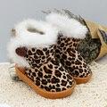 Детские фетровые ботинки для девочек зимняя обувь детские зимние сапоги Модные леопардовые теплые детская обувь детские повседневные туфли для детей младшего возраста - фото