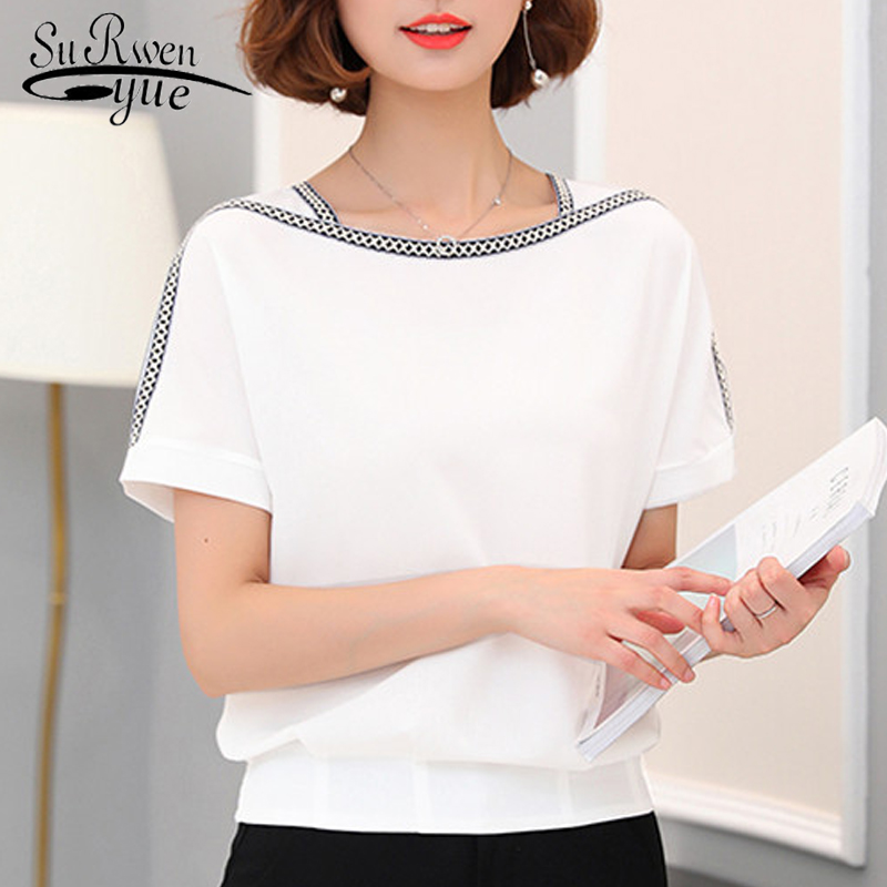 Shirt Short-Sleeve Chiffon Blouse Plus-Size Fashion 0370 30 Blusas Causal Femininas