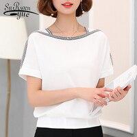 Модная женская блузка, рубашка 2018, повседневная, плюс размер, короткий рукав, женские топы, шифоновая блузка, женская рубашка, femininas 0370 30