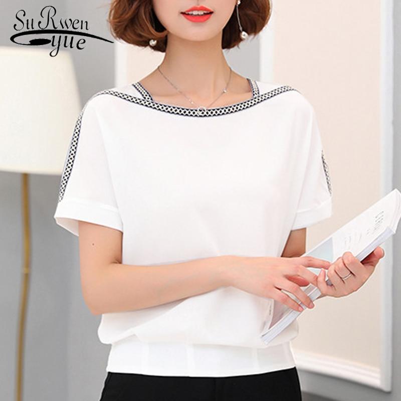 Fashion women blouse shirt 2018 causal plus size short sleeve women tops chiffon blouse women shirt blusas femininas 0370 30