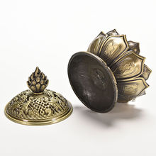 3 Colors 7 cm Height Tibetan Lotus Incense Burner Alloy Bronze Mini Incense Burner Metal Craft Home Decor