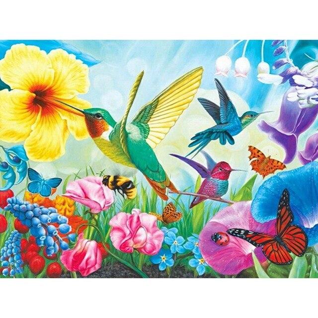 Blooming animales pinturas rhinestones DIY diamante Colibrí y flores ...