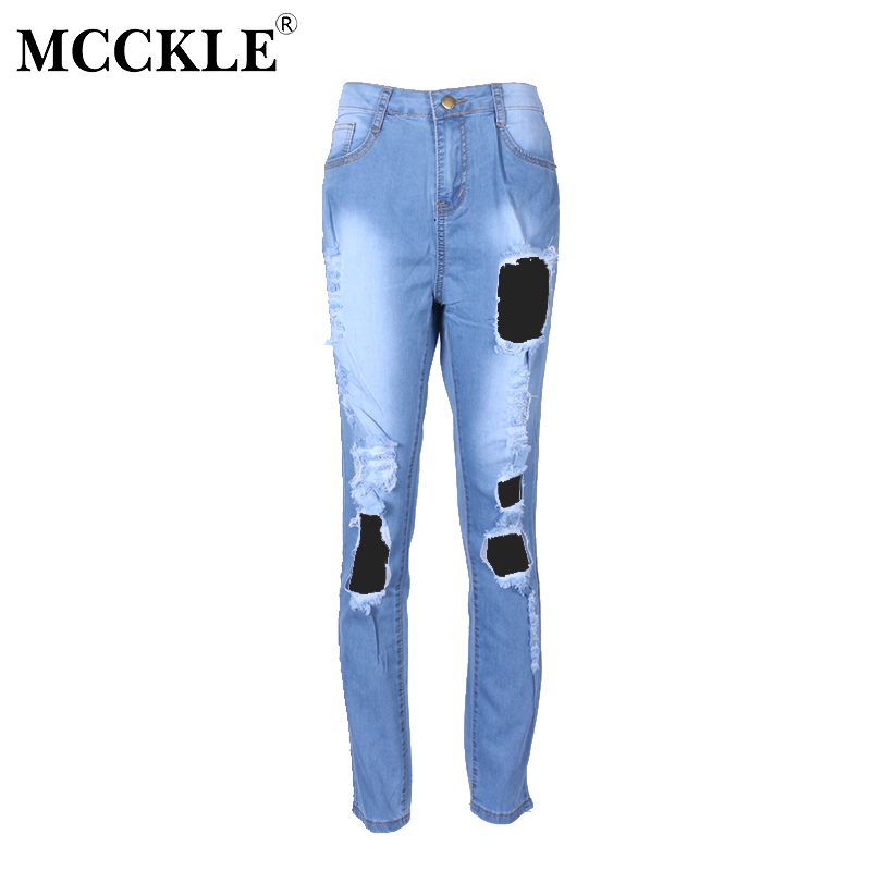MCCKLE Fashion Sexy Holes Ripped Jeans Women High Waist Skinny Slim Denim Pants Jeans Femme Stretch Female Casual Pencil Pants rosicil new women jeans low waist stretch ankle length slim pencil pants fashion female jeans plus size jeans femme 2017 tsl049