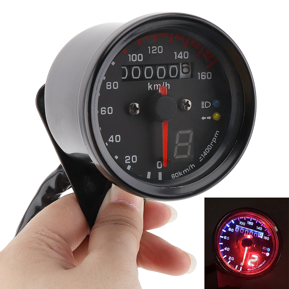 Silver Motorcycle Cafe Racer Speedometer Odometer Gauge 0-160km/h Instrument with LED Indicator universal readable speedometer gauge panel motorcycle odometer instrument led km h racer atv