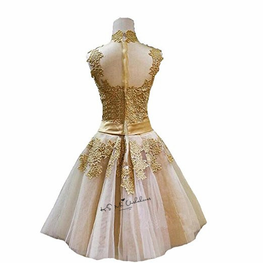2620d949a37cb HOT SALE] Gold Lace Prom Dresses 2018 High Neck Knee Length Imported ...
