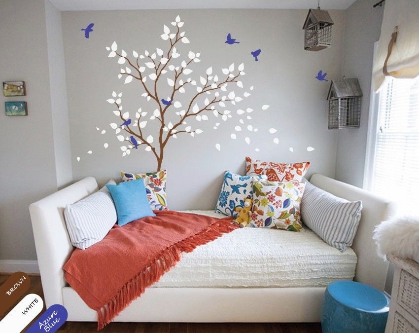 forest tree wall decal with birds green and pink leaves. Black Bedroom Furniture Sets. Home Design Ideas