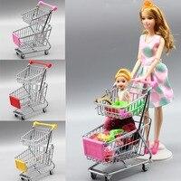 Mini Supermarket Handcart Toy Shopping Utility Cart Mode Storage Funny Folding Shopping Cart For Barbie Doll
