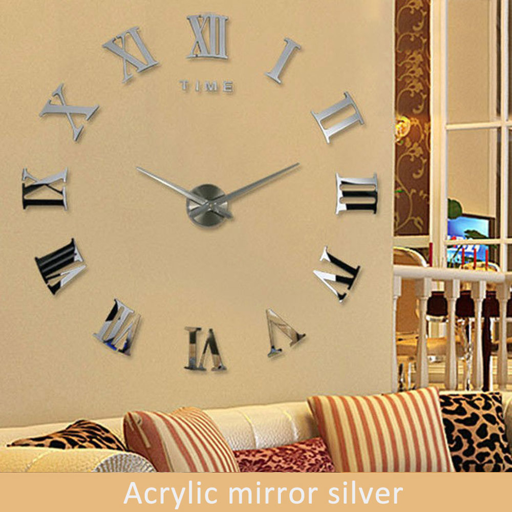 2016 Modern DIY Interior Roman Numeral Scales Wall Clock 3D Mirror ...