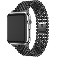 New Luxury Stainless Steel Band For Apple Watch Bands 42mm 38mm Gold Beads Watchband For Iwatch