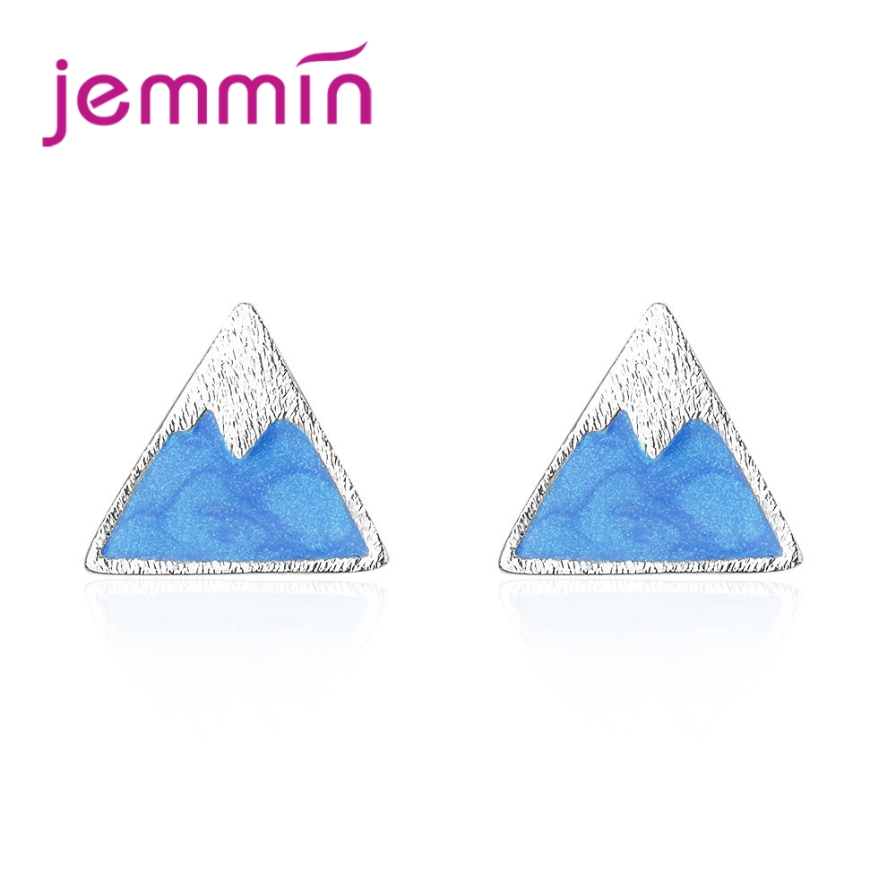 a7d62cec2 JEMMIN Unique Design Triangular Snow Mountain Stud Earrings New Trendy  Romantic Girl Exquisite Valentine's Gift 925