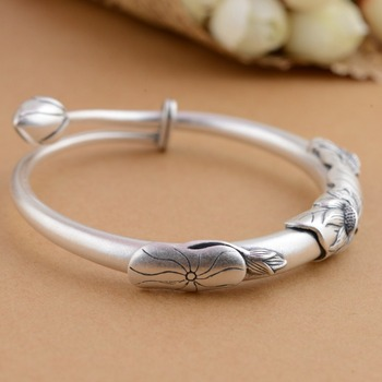HFANCYW New Style Dropship Fine Silver Bracelet 990 Sterling Silver Antique Craft Female's Lotus Flowers Bangle Adjustable Size
