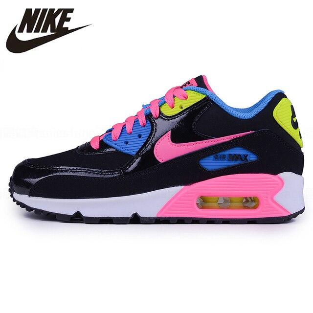 Nike Air Max 90 GS Arco Iris negro de las mujeres Retro acolchado zapatillas de deporte Zapatos de 724855-004