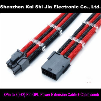 12″ Single Sleeved Black & Red PCI-E GPU 8 Pin to 6+2 Pin PCI-E Power Extension Cable + 2PCS Cable Comb