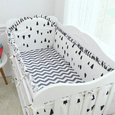 6pcs Pine Wave Baby Bedding Set Kit Berço Protetor De Berco Cotton Baby Linen Bedding Sets For Kid (4bumpers+sheet+pillow Cover)