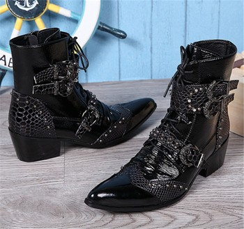 Punk Style Genuine Leather Men Martin Ankle Boots Pointed Toe Lace Up Mens Military Cowboy Boots High Top Buckles Botas Hombre