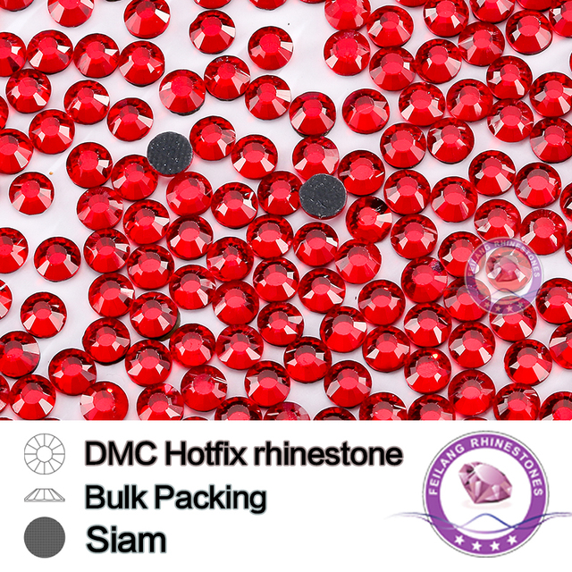 Siam Color Size SS6 SS10 SS16 SS20 SS30 Bulking Packing DMCHotFix Rhinestone For Garments Bags And Shoes