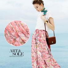100% Pure Silk Small Cats silk linen silk hemp Crepeg Pink Flower Dressmaking Skirt materials Soft Silk Clothes 5 yards H1196