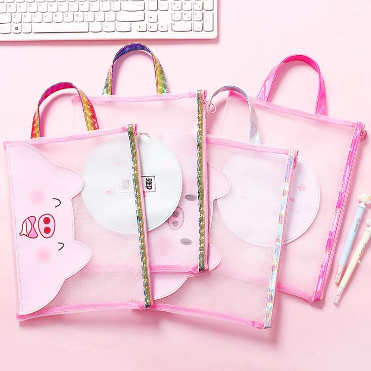 Kawaii Pink Pig A4 File Folder Bag Students Examination Papers Document Organizer Storage Handbag Storage Stationery