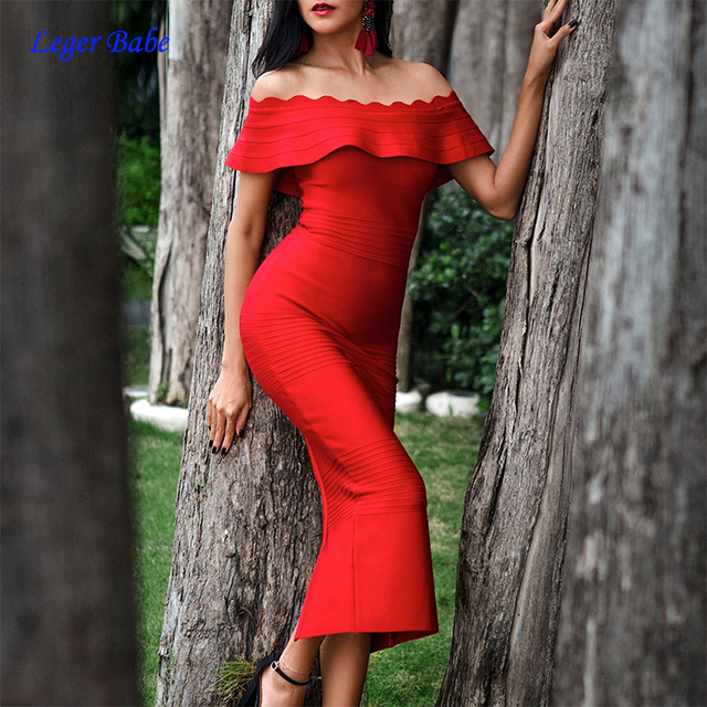 bb282e550948 Leger Babe 2018 Hot Sale Ruffles Off Shoulder Strapless Party Dress Bodycon  Elegant Women Slash Neck Party Bandage Dress Vestido