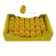 28 pcs/set Cute Big Easter Chenille Chicks With Wire Yellow Chicks Easter Decoration