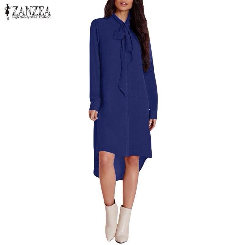 Blusas Femininas 2017 ZANZEA Women Casual Loose Chiffon Shirts Dress Elegant Long Sleeve Irregular Blouse Tops Plus Size Blusas