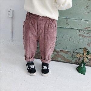 Image 2 - 秋冬ボーイズガールズコットンコーデュロイカジュアルパンツ 2018 子供すべてマッチにスプライシングソリッド色緩いパンツ子供ズボン