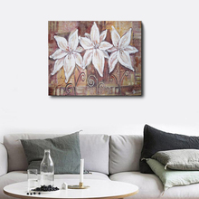 Laeacco Wooden Board White Flower Nordic Style Painting in Canvas Print Poster Wall Art Living Room Bedroom Home Decor
