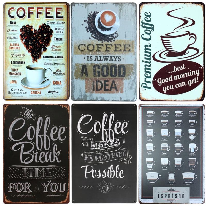 New Coffee Is Always Poster Vintage Metal Signs Home Decor Vintage Tin Signs Pub Vintage Decorative Plates Metal Wall Art