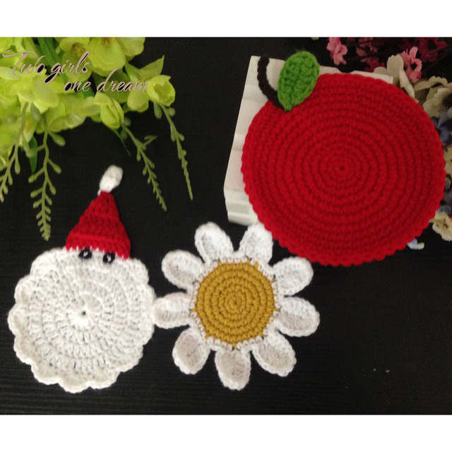 Us 14 57 45 Off Original Decoration Coasters Handmade Crochet Christmas Set Santa Apple Sun Flower Wool Doilies Round Table Mat 14cm 12pcs Lot In